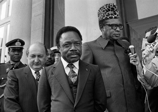 Paris. 30/09/1980. Palais de l'Élysée. Le président gabonais, Omar Bongo (c) et le président zaïrois, Mobutu Sese Seko (d).