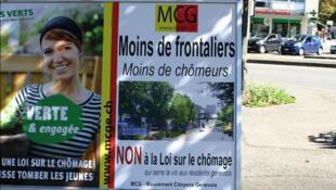 Affiche du parti suisse MCG contre la venue de frontaliers français à Genève.