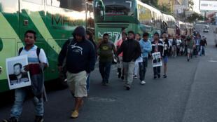Manifestation d'exilés nicaraguayens au Costa Rica dans les rues de San José, le 16 décembre 2018.
