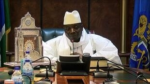 A December 2016 file photo of Gambian President Yahya Jammeh speaking during a press conference after being defeated during the presidential election.