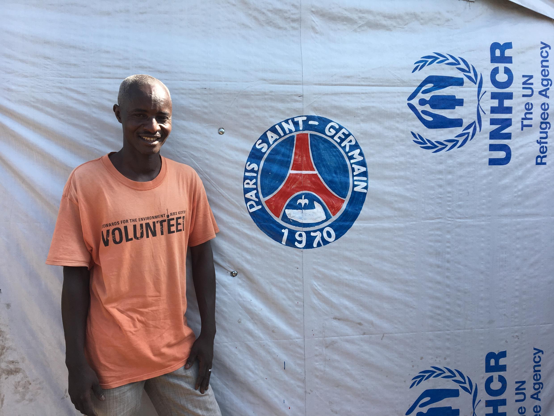 Bashir Ummar, a refugee from Bouzoum, CAR, outside his tent at Diba1 refugee site, Baibokoum, southern Chad