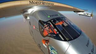 Bertrand Piccard en la última etapa de su vuelta al mundo con el Solar Impulse 2, el 25 de julio de 2016.