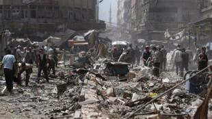 Рынок Думы после ударов ВВС Сирии 16 августа 2015