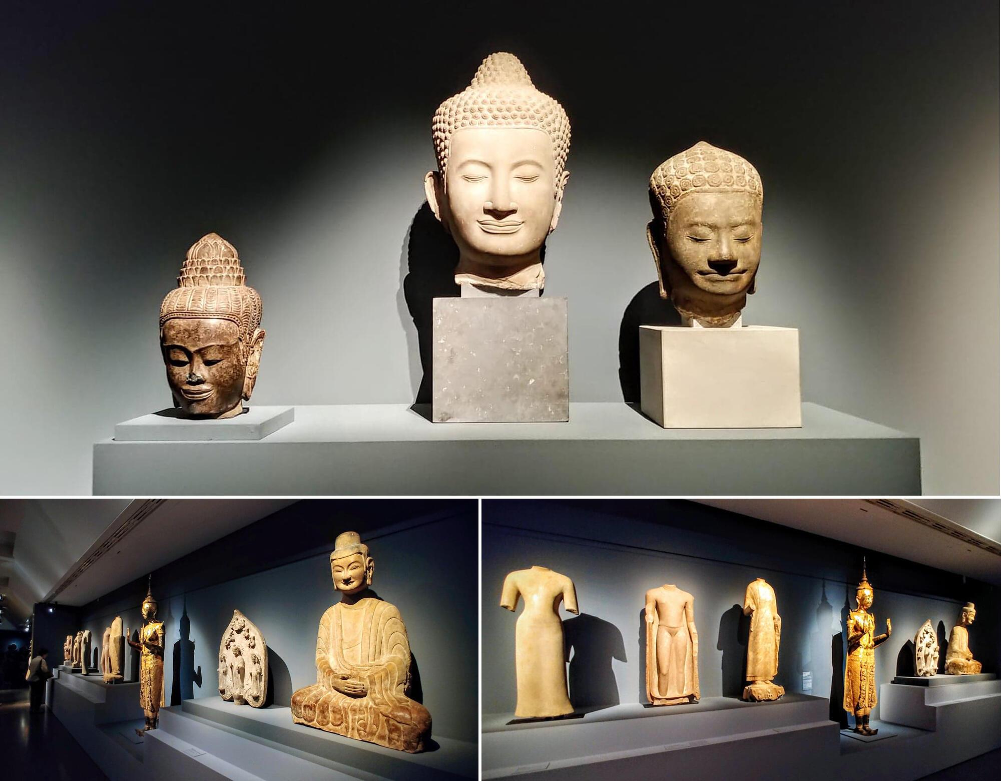 Sự thanh thoát nhẹ nhàng lan tỏa từ những pho tượng : Đức Phật khép mắt thiền định, môi nở nụ cười bình an
