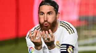 Sergio Ramos, du Real Madrid, contre Getafe en Championnat d'Espagne le 2 juillet 220 à Madrid