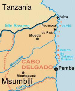 Província de Cabo delgado no norte do Moçambique