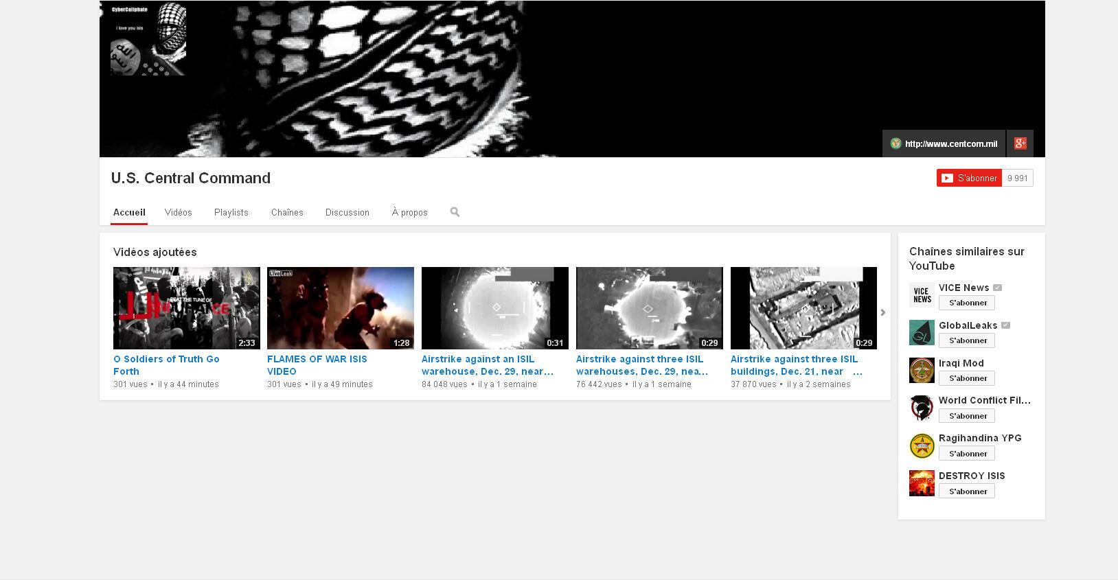 La page YouTube du CentCom lors du piratage.