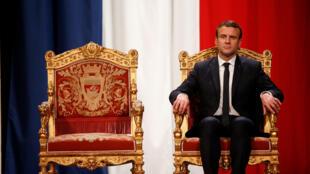 Французский президент Эмманюэль Макрон в мэрии Парижа, 14 мая 2017.