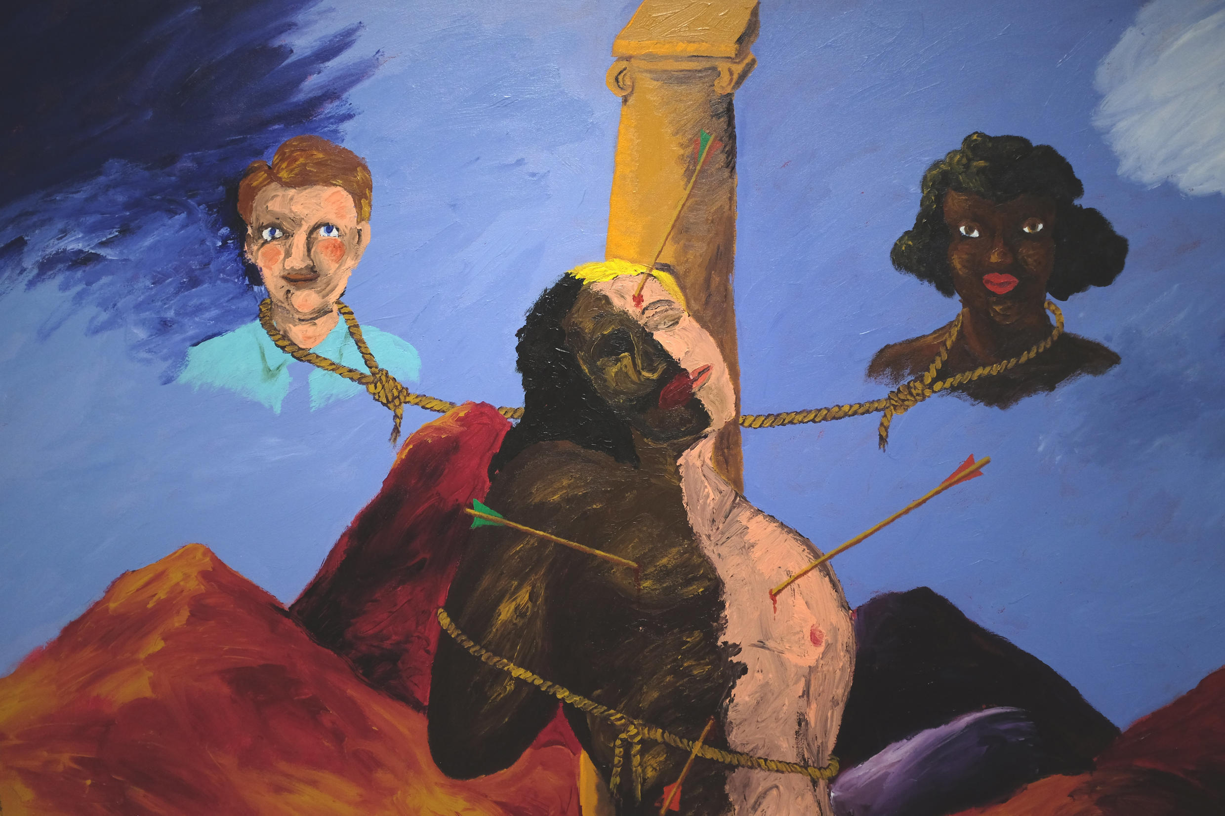 « Knowledge of the Past is the Key to the Future (St. Sebastian) » (detail), 1986. Oeuvre de Robert H. Colescott (1925-2009), exposée dans « The Color Line » au musée du quai Branly.
