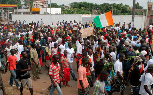 Members of Ivory Coast's Young Patriots show support for Laurent Gbagbo in Abidjan
