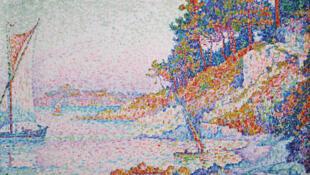 """""""La Calanque"""", quadro pintado por Paul Signac em 1906, inspirado nas paisagens do Mediterrâneo."""