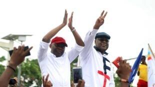 Vital Kamerhe à côté du futur président Felix Tshisekedi lors de la campagne pour la présidentielle en RDC. Le 27 novembre 2018.