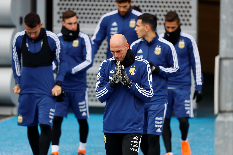Entrenamiento del seleccionado argentino en Manchester, Inglaterra, el 21 de marzo de 2018.