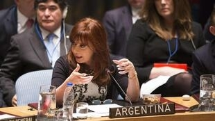 A presidente da Argentina, Cristina Kirchner, na Assembleia Geral da ONU em 24 de setembro de 2014.