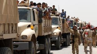 Voluntarios, que acaban de unirse al ejército iraquí para luchar contra los yihadistas que arrebataron Mosul y otra ciudades del norte del país,  viajando en tanques del ejército en Bagdad.  Junio 14, 2014.