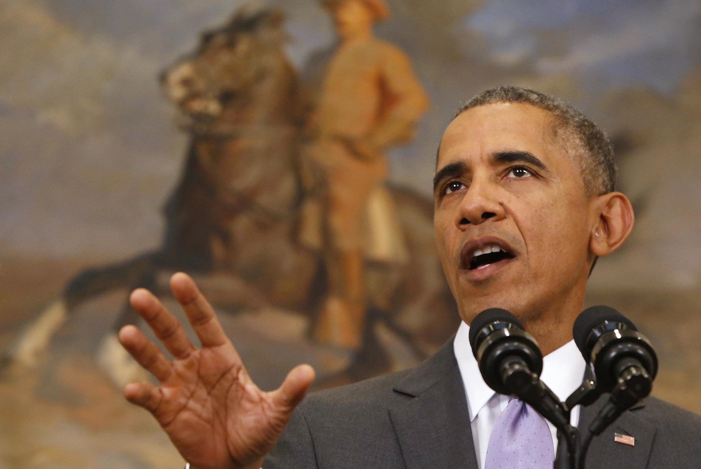 Le président Barack Obama a demandé au Congrès états-unien d'autoriser une force militaire contre le groupe EI, le 11 février 2015.