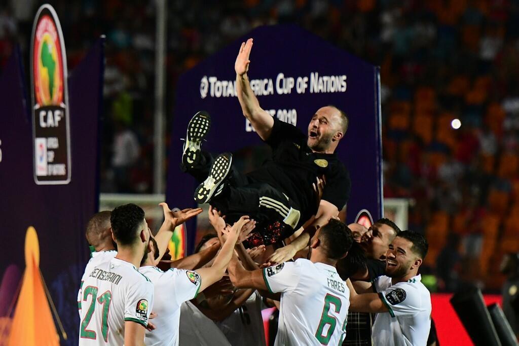 Djamel Belmadi, lors de la victoire de l'Algérie à la CAN 2019.