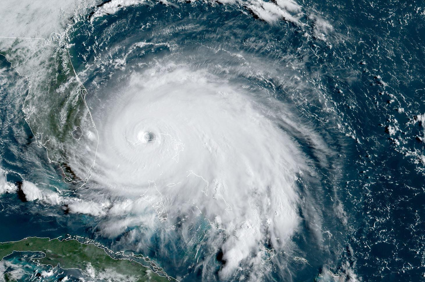 A satellite image from September 2019 of Tropical Storm Dorian. US forecasters predict an 'above normal' 2020 Atlantic hurricane season
