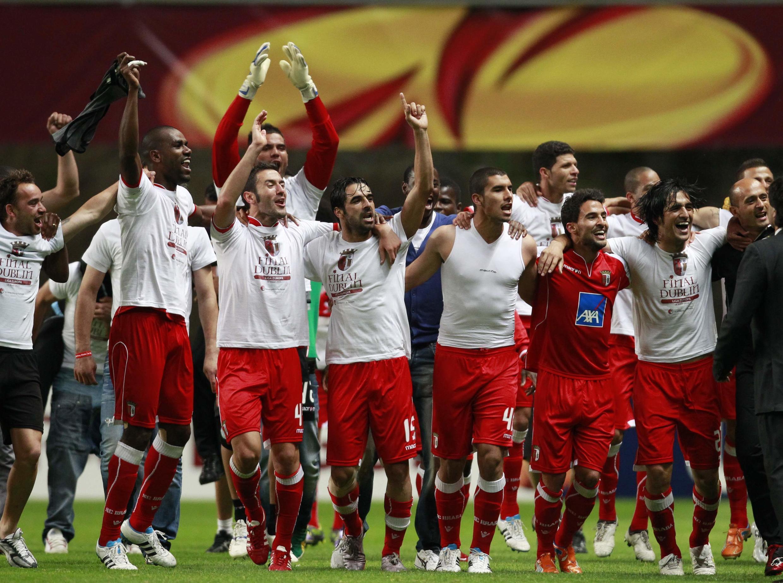 Les joueurs de Braga célèbrent la qualification en finale de la Ligue Europa 2011.