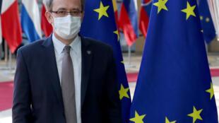 Le Premier ministre du Kosovo, Avdullah Hoti, lors du Conseil européen à Bruxelles le 25 juin 2020.