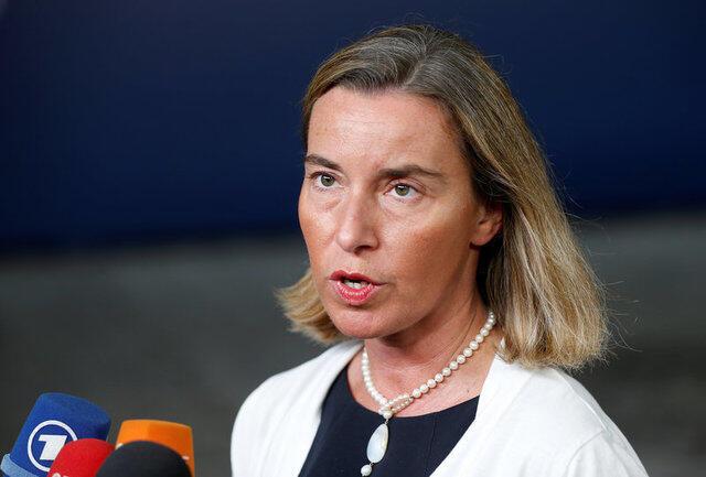 Federica Mogherini, chefe da diplomacia da União Europeia, em coletiva de imprensa em 17 de julho de 2017