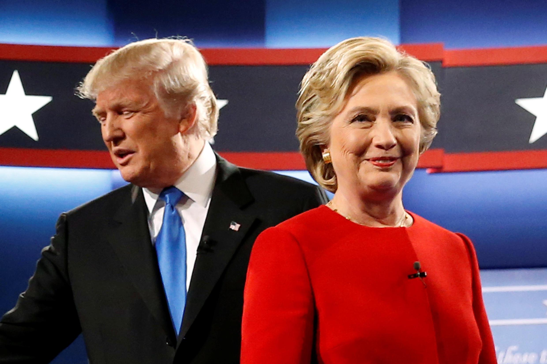 Les candidats à la présidentielle américaine Trump et Clinton se sont affrontés lors d'un grand débat télévisé, le 26 septembre 2016.