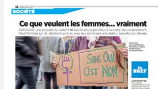 """Destaque no jornal Aujourd'hui en France desta terça-feira para uma pesquisa que revela que nove a cada dez mulheres já tiveram alguma relação """"não desejada"""" com seus parceiros."""