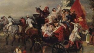 Bức tranh « Scène de Carnaval, place de la Concorde » của Eugène Lami vẽ năm 1834.