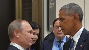 O presidente russo, Vladimir Putin, e o presidente americano, Barack Obama, em foto de arquivo.