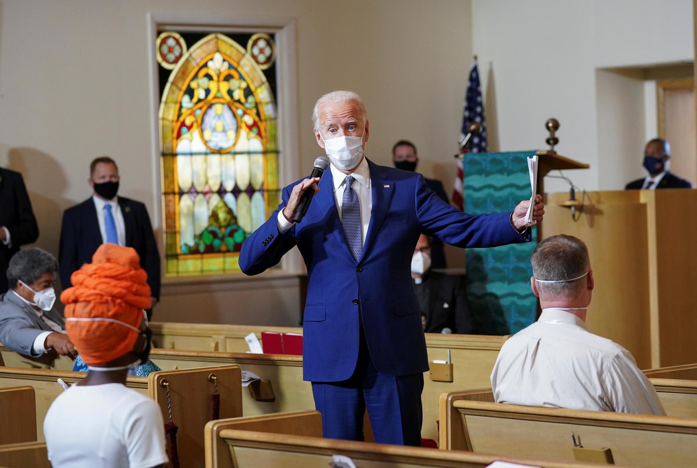 Ứng viên tổng thống Joe Biden của đảng Dân Chủ Mỹ tại nhà thờ Grace Lutheran, ở Kenosha, bang Wisconsin, ngày 03/09/2020.