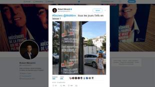 Capture d'écran du compte officiel Twitter public du maire de Béziers, Robert Ménard.
