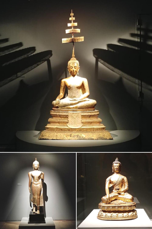 Đức Phật (Thái Lan) ngồi thiền, trên đầu tỏa sáng 5 vương miện lung linh ánh vàng son
