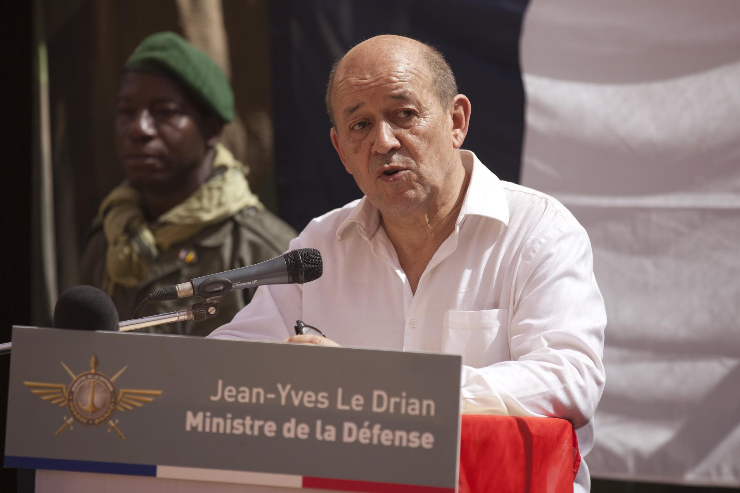 French Defence Minister Jean-Yves Le Drian speaks to French soldiers in Gao on Thursday