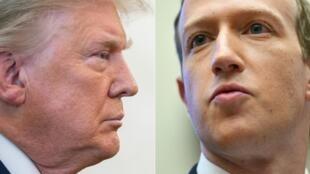 Combo de imágenes de archivo creadas el 7 de enero de 2021 muestra al presidente de los Estados Unidos, Donald Trump (izquierda) en Washington, DC el 7 de diciembre de 2020, y al presidente y director ejecutivo de Facebook, Mark Zuckerberg, en Washington, el 23 de octubre de 2019.