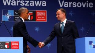 美國總統奧巴馬與波蘭總統杜達2016年7月8日華沙