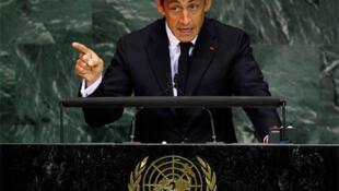 President Nicolas Sarkozy addresses the UN Millennium Development Goals Summit in New York.
