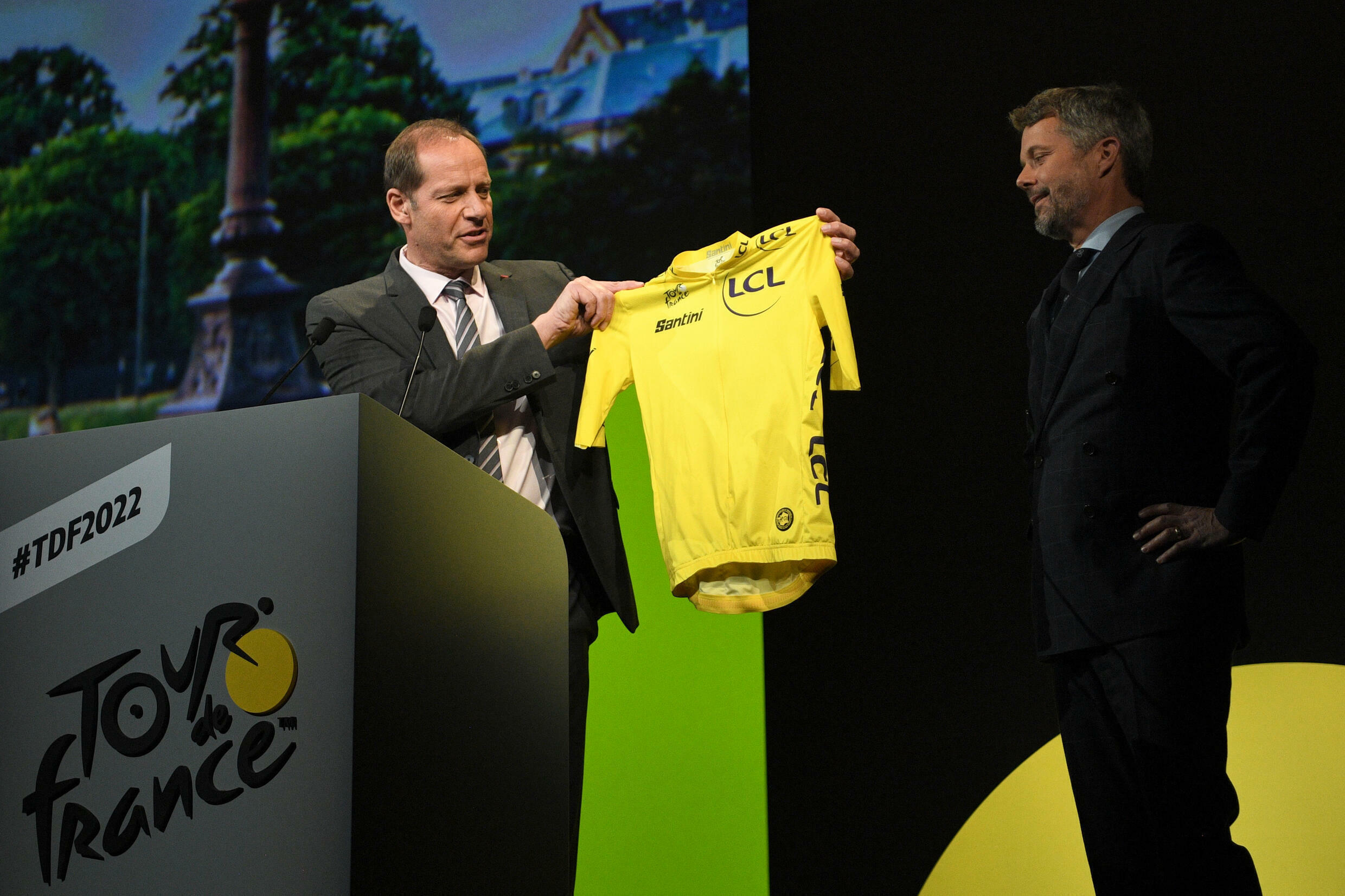 Prince Frederik of Denmark received a yellow jersey from Tour de France director Christian Prudhomme during the presentation of the 2022 men's race