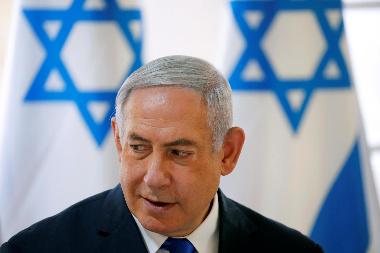 FILE PHOTO: Israeli Prime Minister Benjamin Netanyahu gestures during a weekly cabinet meeting in the Jordan Valley, in the Israeli-occupied West Bank September 15, 2019.