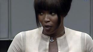 Naomi Campbell lors de son témoignage devant le Tribunal spécial pour la Sierra Leone (TSSL), le 5 août 2010.