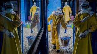 Unité de traitement anti-Ebola du compté de Bong, Suakoko, Liberia, 7 octobre 2014.