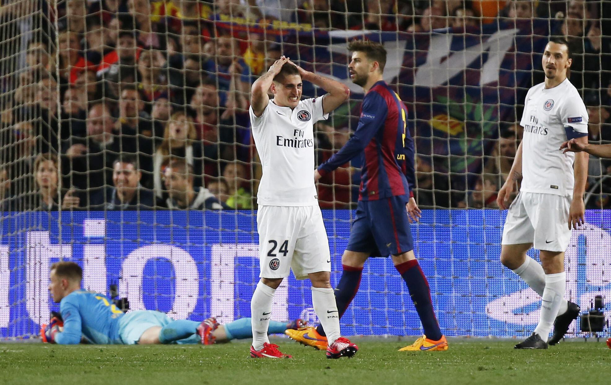 Decepção de Marco Verratti depois da derrota do PSG para o Barcelona.