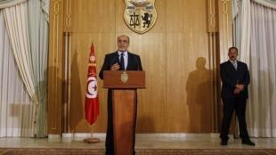 کنفرانس مطبوعاتی حمادی جبالی، نخست وزیر تونس. ٣٠بهمن/  ١٨فوریه ٢٠١٣