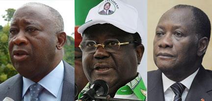 Le chef de l'Etat ivoirien, Laurent Gbagbo (g), l'ancien président et numéro un du PDCI, Henri Konan-Bédié (c) et le leader du RDR, Alassane Ouattara.