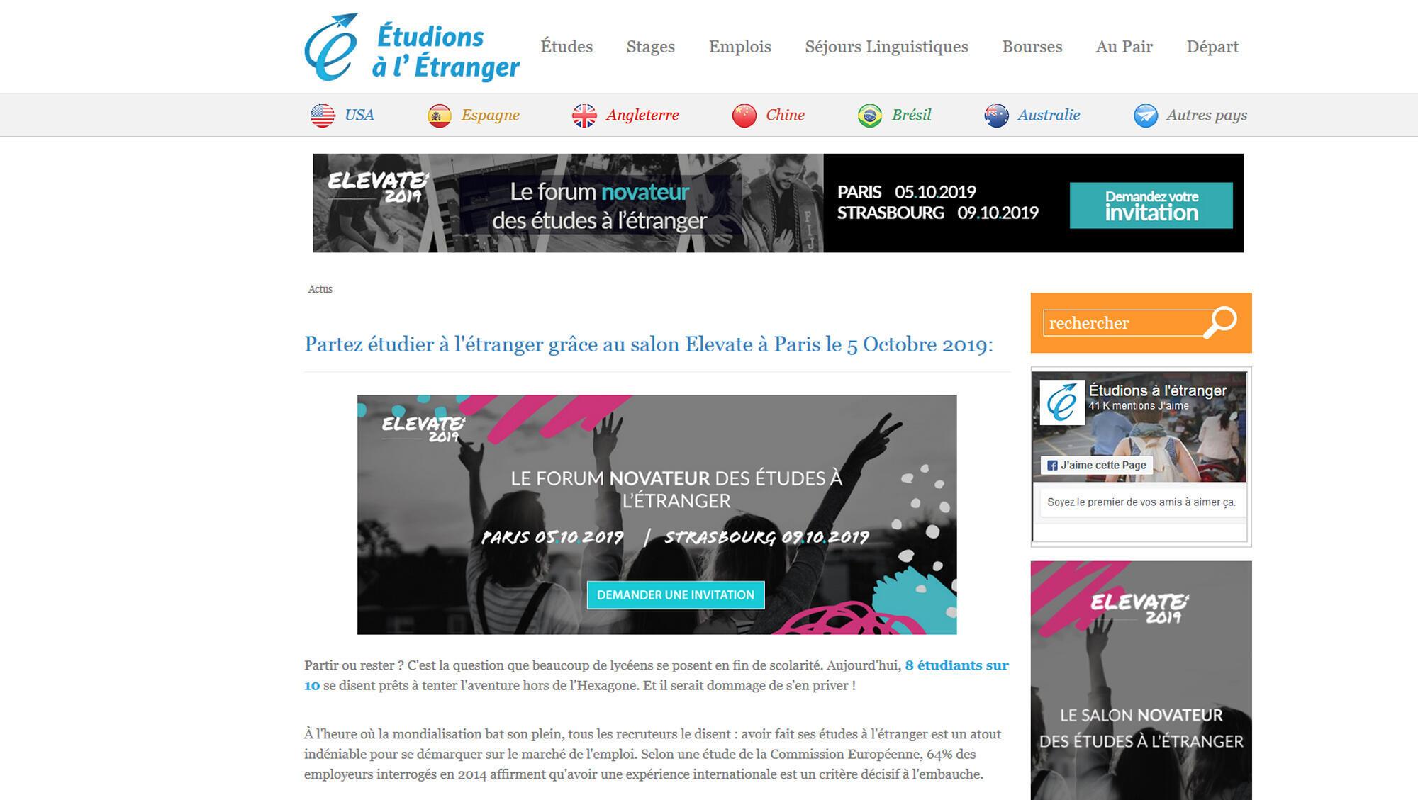 la page d'accueil du site «Étudions à l'étranger».