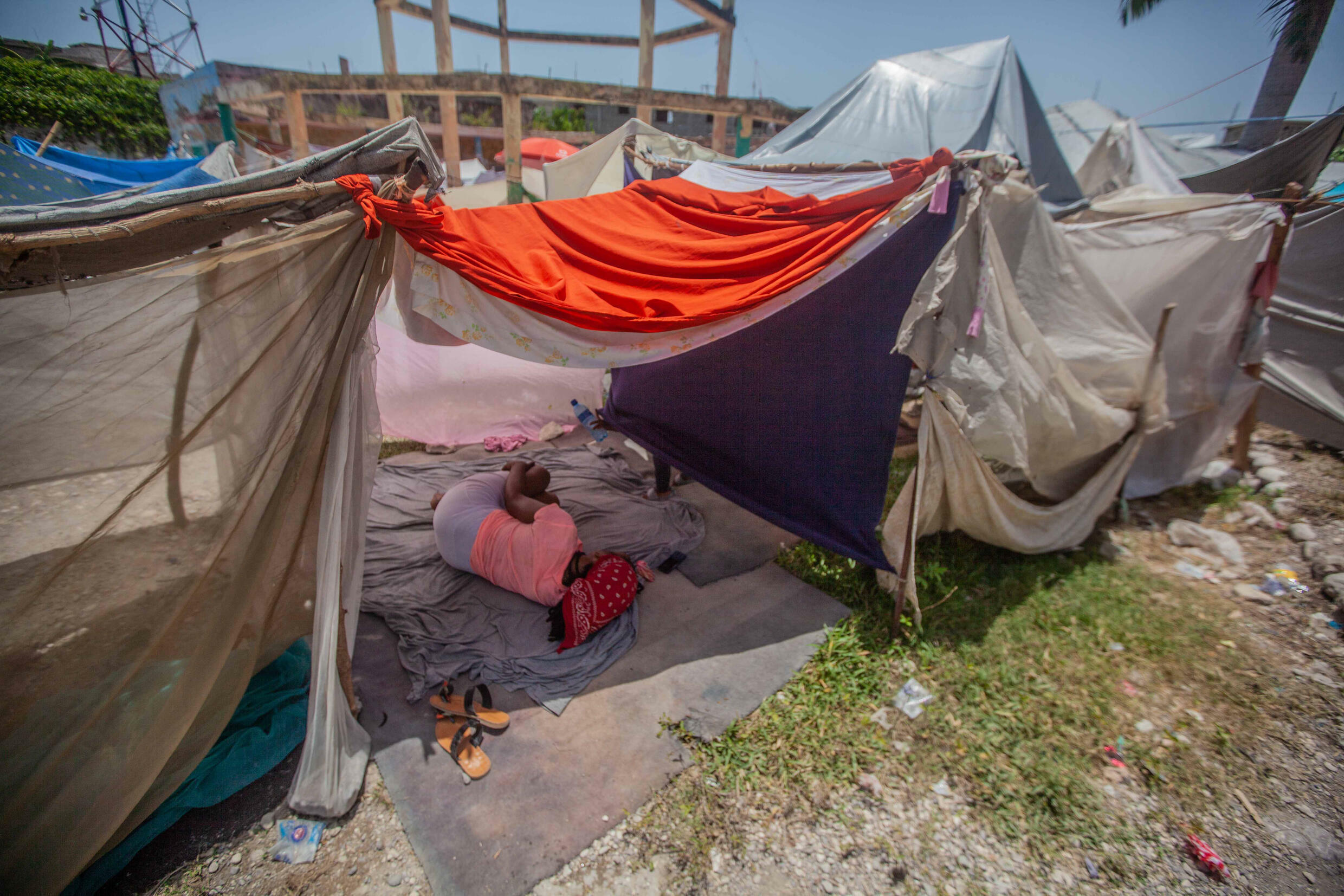 Haitian women forced to live in makeshift camp after August's powerful earthquake are afraid for their safety