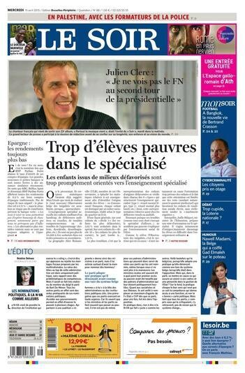 Capa do jornal belga Le Soir desta quarta-feira, 15 de abril de 2015.