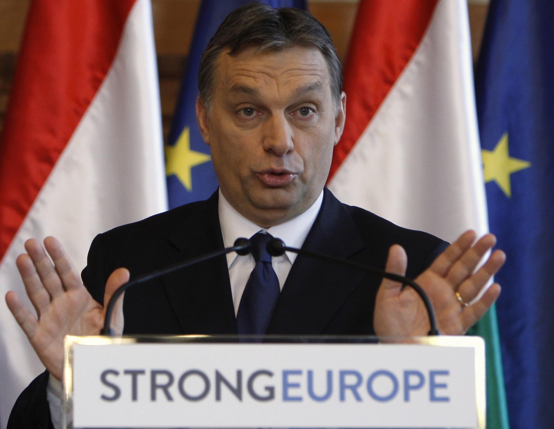 Thủ tướng Hungary Viktor Orban trong một cuộc họp báo ở Quốc hội, Budapest, 5/2/2011 (REUTERS/Laszlo Balogh)