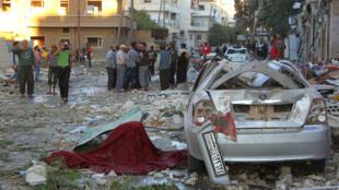 叙利亚伊德利卜省遭空袭后2016年9月29日
