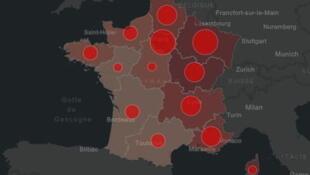 COVID 19 nombre de cas et de morts, carte des régions touchées