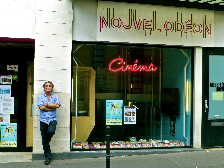 Séamas McSwiney outside Le Nouvel Odéon, host of Paris is Cinema